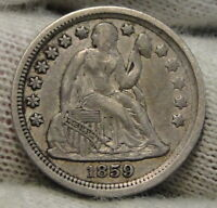 1859 SEATED LIBERTY DIME, 10 CENTS. KEY DATE ONLY 430,000 MINTED,  7683