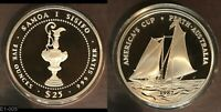1987 SOMOA $25 AMERICAS CUP  HUGE SILVER 5 TROY OZ   PROOF   WORLD SILVER 99