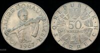 1967 AUSTRIA 50 SHILLING  100 JAHRE DONAUW  WORLD SILVER