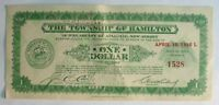 DEPRESSION SCRIP ONE DOLLAR TOWNSHIP OF HAMILTON NEW JERSEY APRIL 10 1936