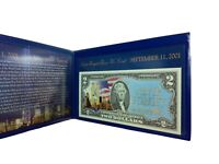 NEVER FORGET 9/11/2001 COLORIZED U.S. $2 BILL IN DISPLAY FOLDER LEGAL TENDER