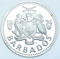 BARBADOS SILVER PROOF 5 DOLLARS $5 1974 COIN AFDC