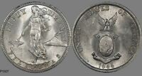 1944 S USA PHILIPPINES 50 CENTAVOS  WORLD SILVER COIN  TONED