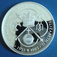 CAYMAN IS: 1993 $5 CORONATION 40TH .925 SILVER PROOF   CAP