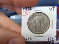 1924-D VF EXTRA FINE  KEY DATE STANDING LIBERTY SILVER QUARTER DOLLAR VF EF 25C 90