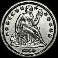 1859 SEATED LIBERTY DIME SOLID GEM BU RAZOR SHARP DETAILS  430,000 MINTED
