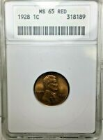 1928 LINCOLN PENNY CENT ANACS MINT STATE 65 RED BRILLIANT UNCIRCULATED
