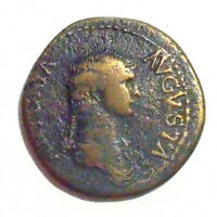 ROMA   ANTONIA  193 AD  AE DUPONDIUS   STRUCK BY HER SON CLA