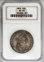 1803 50C LARGE 3 DRAPED BUST HALF DOLLAR NGC AU58 CERTIFIED US  COIN