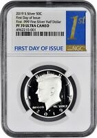 2019 S SILVER KENNEDY FIRST .999 FINE SILVER 50C NGC PF70 FI