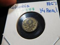 X277 COLOMBIA 1867 BOGOTA 1/4 REAL