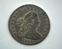 1801 DRAPED BUST SILVER HALF DIME CHOICE LY FINE
