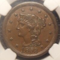 1853 BRAIDED HAIR LARGE CENT AWESOME DETAIL FLAWLESS NGC GRA