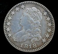 1818 U.S. REICH CAPPED BUST QUARTER DOLLAR  BROWNING 8 RARIT