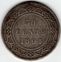1894 NEWFOUNDLAND CANADA FIFTY 50 CENT VICTORIA STERLING SIL