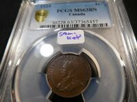 A17 CANADA 1924 SMALL CENT PCGS MS 63 BROWN SEMI KEY DATE