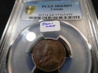 A19 CANADA 1926 SMALL CENT PCGS MS 64 BROWN SEMI KEY DATE