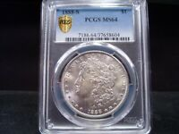 1888- S MINT STATE 64 MORGAN SILVER DOLLAR PCGS CERTIFIED - BRIGHT WHITE STUNNER