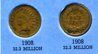 1908 INDIAN HEAD US CENT ONE PENNY 1 CENT KEY DATE  COIN INDIANCENT AMERICAN