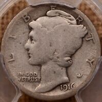 1916 D KEY DATE MERCURY DIME PCGS AG3 POPULAR AND TOUGH   DA