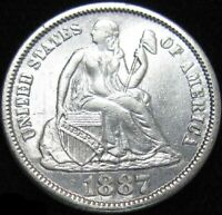 1887 SEATED LIBERTY SILVER DIME LUSTROUS   COIN MUCH BETTER THAN PHOTO