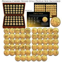 1999 2009 COMPLETE 24K GOLD PLATED STATEHOOD QUARTER 56 COIN SET CHERRY WOOD BOX