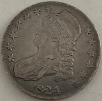 1824 50C CAPPED BUST SILVER HALF DOLLAR REMODELED NORMAL DATE EXTRA FINE