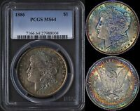 USA $1 1886 PCGS MINT STATE 64 UNBELIEVABLE 2 SIDED RAINBOW TONING