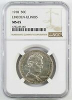1918 LINCOLN COMMEMORATIVE HALF DOLLAR : NGC MINT STATE 65