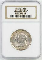 1921 ALABAMA COMMEMORATIVE HALF DOLLAR : NGC MINT STATE 63