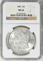 1887 MORGAN SILVER DOLLAR S$1 NGC MINT STATE 63