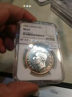 ST20 CANADA 1948 SILVER DOLLAR NGC MS 62 KEY DATE
