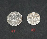MOROCCO MAROC SET OF 2 SILVER COINS 1 1/2 DIRHAM MOULAY HASSAN I 1299AH