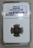 1842 O SILVER SEATED LIBERTY DIME 10C US TYPE COIN CERTIFIED NGC AU DETAILS K5