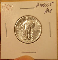 1924 STANDING LIBERTY QUARTER ALMOST AU PRICED TO SELL..LOT 3801