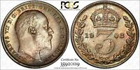 GREAT BRITAIN EDWARD VII SILVER 1903 3 PENCE PCGS PL64 PROOFLIKE TONED KM797.1