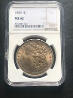 1890 P MORGAN SILVER DOLLAR NGC MINT STATE 62