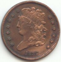 1832 CLASSIC HEAD HALF CENT VF XF DETAILS TRUE AUCTION NO RE