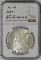1882-S MORGAN DOLLAR $ MINT STATE 67 NGC   941671-2