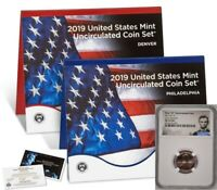 2019 MINT UNCIRCULATED COIN SET W/ FIRST W LINCOLN CENT NGC