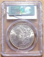 1881-P MORGAN SILVER DOLLAR PCGS GRADED MINT STATE 63 SOME TONING