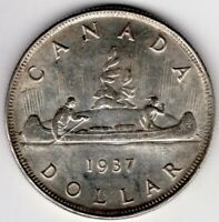 1937 DOUBLE HP CANADA ONE 1 DOLLAR GEORGE VI SILVER COIN