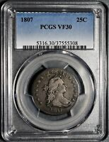 1807 25C SILVER DRAPED BUST QUARTER CERTIFIED BY PCGS VF30  EA22