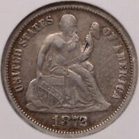 1872-CC SEATED LIBERTY DIME, NGC VF25, PLEASING AND     DAVIDKAHNCOINS