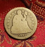 1841 SEATED LIBERTY DIME - WELL CIRCULATED