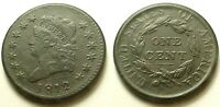 1812 CLASSIC HEAD LARGE CENT-VF/EXTRA FINE  DETAILS SHIPS FREE
