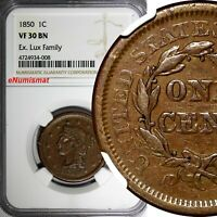 US COPPER 1850 1C  LARGE CENT BRAIDED HAIR NGC VF30 BN EX.LUX FAMILY COLLECTION
