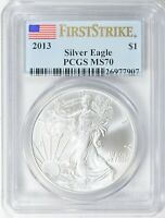 2013 AMERICAN SILVER EAGLE $1 FIRST STRIKE PCGS MS70
