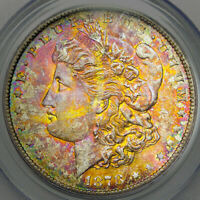 1878-S PCGS MINT STATE 63 MORGAN $ AWESOME REDDISH COLORFUL RAINBOW TONING MP