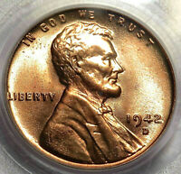 1942-D LINCOLN WHEAT CENT. PCGS MINT STATE 66RD MINT RED. 10053403